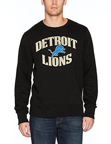 OTS NFL Detroit Lions Men's Fleece Crew Distressed, Jet Black, Large