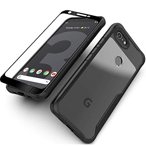 Google Pixel 3a Case with Screen Protector(2 Pack) Flexible Soft Clear Silicon TPU Back Slim fit Anti-Slip Anti-Scratch Shockproof Bumper Cover (Black) ()
