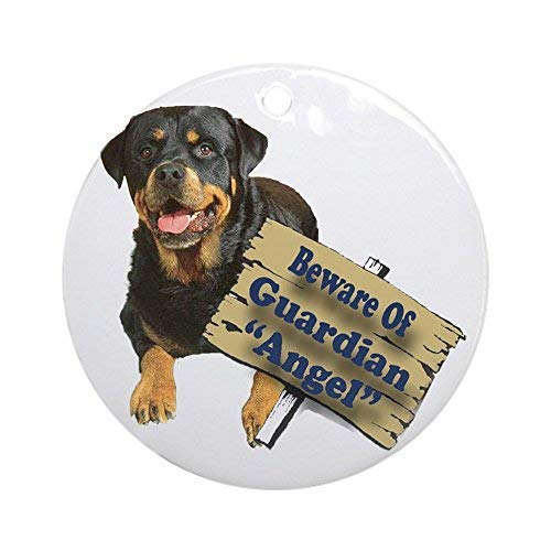 - Rottweiler Guardian Angel Christmas Ornaments Round Ceramic Christmas Tree Hanging Ornaments Decoration Xmas Gifts Ornaments