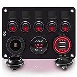 FXC 5 Gang Rocker Switch Panel with Dual USB Slot Socket 5V 4.2A + Cigarette Lighter + Voltmeter for Marine Boat Car Rv Vehicles Truck 12-24V Waterproof Blue LED (5B Red)