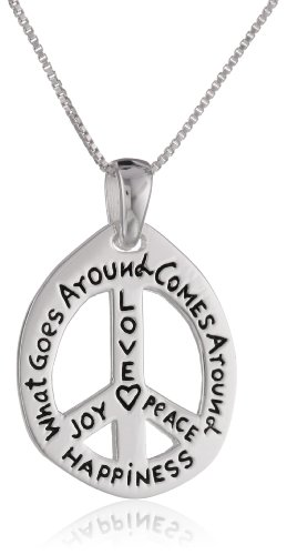 "Sterling Silver ""Love, Joy, Peace, Happiness"" Peace-Sign Pendant Necklace , 18"""