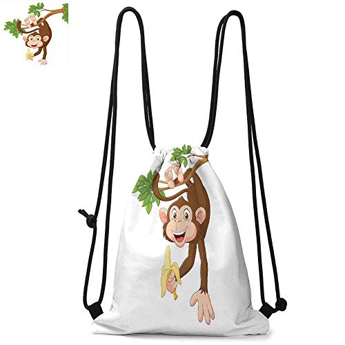 - Cartoon Printed drawstring backpack Funny Monkey Hanging from Tree with Banana Jungle Animals Theme Mascot Print Suitable for school or travel W13.4 x L8.3 Inch Chocolate White
