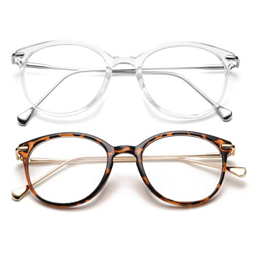 COASION Vintage Round Clear Glasses Non-Prescription Eyeglasses Frames for Women Men (Transparent/Silver + Tortoise/Gold)
