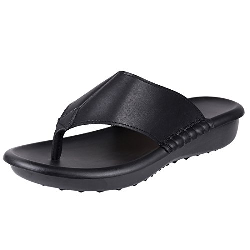 Ladies Black Leather Sandals Heels - Women's Leather Thong Flip Flop Wedge Sandals