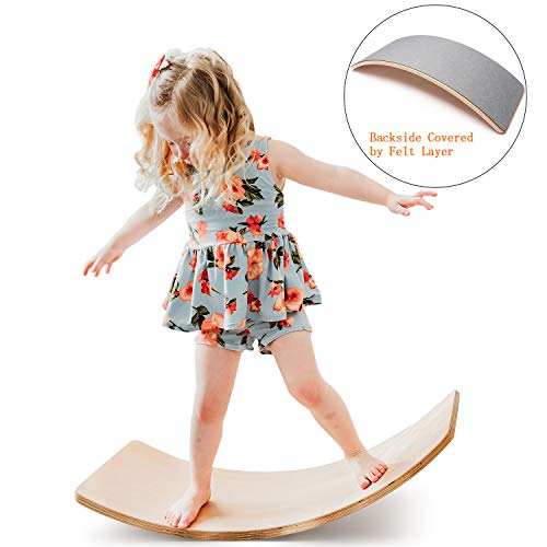 funny supply Wooden Balance Board Wobbel Balance Board Kid Yoga Board Curvy Board - Waldorf Wooden Rocker Board with Light Grey Color Felt Layer
