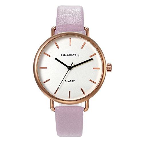 (Women's Fashion Bracelet Bangle Watch Pink Slim Big Face Simple Japan Quartz Dress Leather Strap Wristwatch)