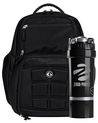 6 Pack Fitness Expedition Backpack Meal Mangement System 300 Stealth Black w/Bonus Zogosportz Cyclone Shaker