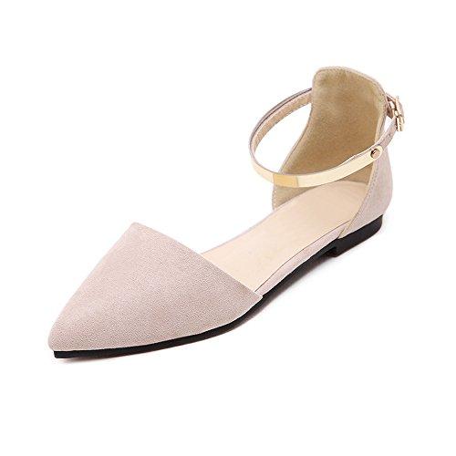 OCHENTA Mujer Ballerina Plana Zapatos Moda Hebilla Tobillo Albaricoque
