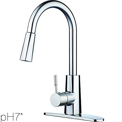 pH7® F06 1-hole or 3-holes Plastic Pull-down Kitchen Sink Faucet with Deck Plate; 1-handle Kitchen Faucet; Excellent Finish, Nylon Hose, and Coordinating Shape, Chorme or Brushed Nickel