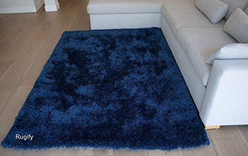 Shag Shaggy Fluffy Fuzzy Furry Modern Contemporary Designer Decorative Solid Plush Navy Blue Dark Blue Two Tone Color 8x10 Living Room Bedroom Area Rug Carpet Sale Cheap Discount ( Romance Navy Blue )