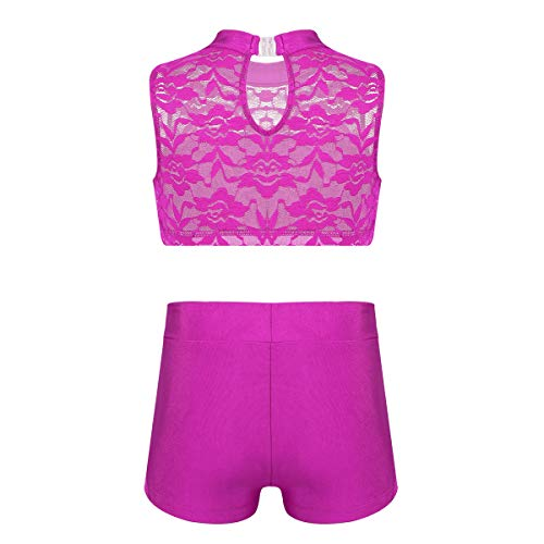 iiniim Girls 2-Piece Active Sports Dance Outfit Splice Lace Crop Top with Boy Cut Shorts Pants Dancing Costumes Rose_Red 5-6