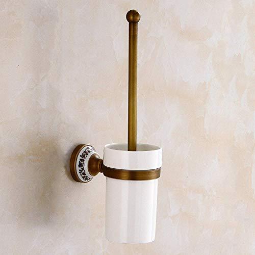 QiXian Bathroom Toilet Bowl Brush Holder Set All Copper Antique Pottery Toilet Bathroom Bathroom European Retro Toilet Cup Cup Cup Strong Sturdy