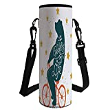 Water Bottle Sleeve Neoprene Bottle Cover,Bicycle,Silhouette of A Biking Giant Bear with Distressed Effects and Stars Print,Blue Orange Yellow,Fit for Most of Water Bottles