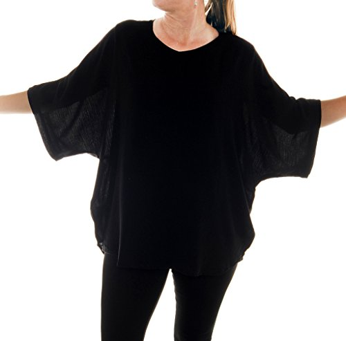 We Be Bop Womens Plus Size Solid Black Crinkle Rayon Shell Top 0X 1X 2X 3X 4X 5X 6X