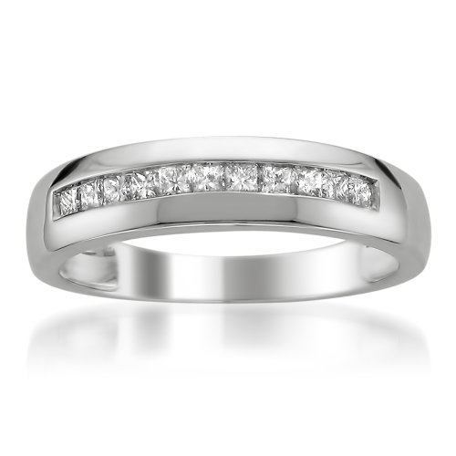 Platinum Princess-cut Diamond Men's Wedding Band Ring (1/2 cttw, H-I, SI2-I1), Size 8 by La4ve Diamonds
