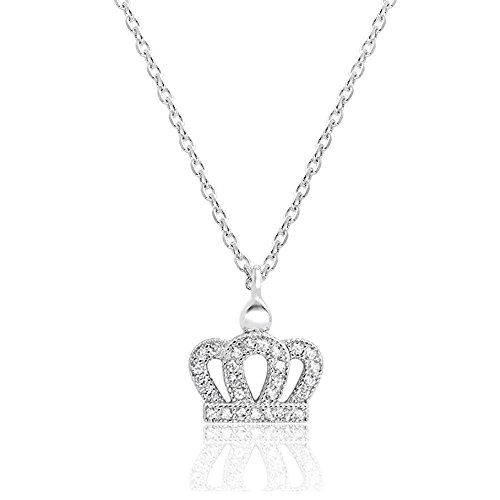 Sterling Silver CZ Crown Pendant Necklace - Crown Jewelry, Crown Necklace for Women