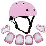 VORCOOL 7 Codo de la muñeca de los niños Rodilleras Bicicleta Casco niños Seguridad de los Deportes Equipo de protección monopatín patineta en Bicicleta Accesorios - Rosa