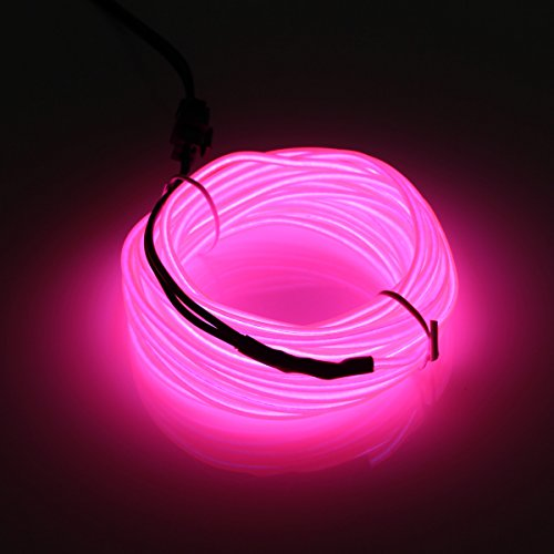 jiguoor EL Wire with Battery Pack 16.4ft/ 5M Super Bright Light Neon Tube Neon Glowing strobing of 360 Degrees of Illumination for Party Decoration (Pink,16.4ft/ 5M) ()