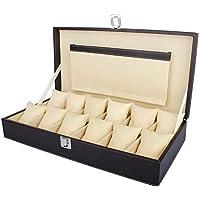 zaradise Unisex Faux Leather Finish Watch Storage Box Display Case Organizer with 12 Slots (Brown, Medium)