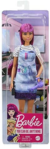 Tie-Dye Smock Great Gift for Ages 3 Years Old /& Up Striped Tee Barbie Salon Stylist Doll Blow Dryer /& Comb Accessories 12-In//30.40-cm with Purple Hair
