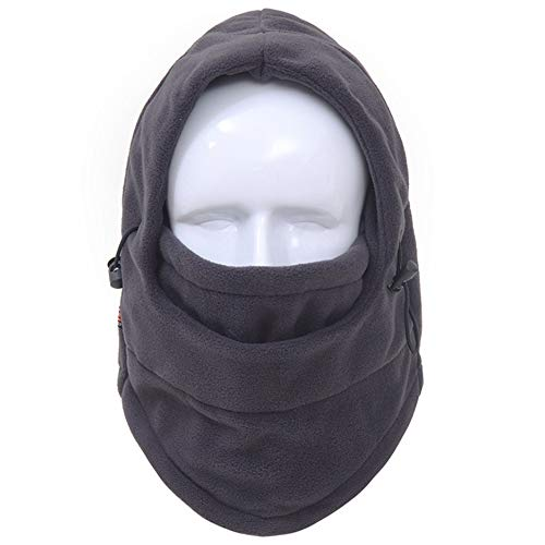 YSJOY Unisex Thickening Version Polar Fleece Balaclava Windproof Ski Face Mask Ear-Flap Winter Hat Hood for Outdoor Sports for Men Womens Grey