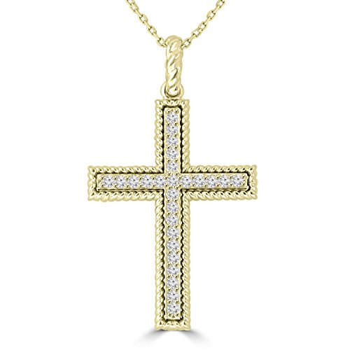 0.45 ct Ladies Round Cut Diamond Cross Pendant Necklace (G Color SI-1 Clarity) in 14 kt Yellow Gold by Madina Jewelry (Image #4)