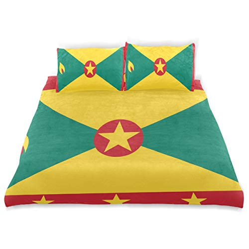 Grenada 3 Piece - Ainans 3 Pieces Duvet Cover Twin Bedding Set Soft Grenada Flag Quilt Bed Covers for Kids