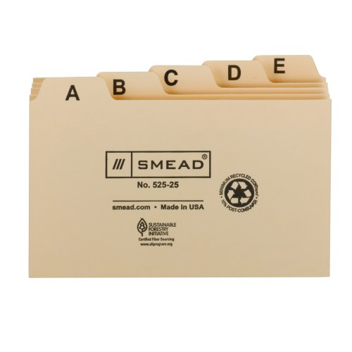 Smead Card Guide, Plain 1/5-Cut Tab (A-Z), 5
