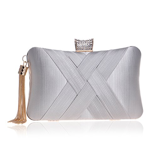 - MY Women's Evening Clutches Bags Silk Satin Party Handbags Bridal Wedding Prom Purses with Tassel Pendant,Silver