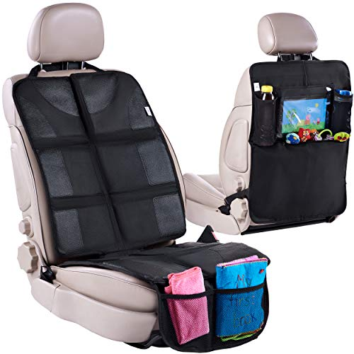 Car Seat Protector + Rear Seat Organizer for Kids - Waterproof & Stain Resistant Protective Backseat Kick Mat W/Storage Pockets & Tablet Holder - Baby Travel Kickmat & Front/Back Seat Cover Set (Kid Car Seat Protector)