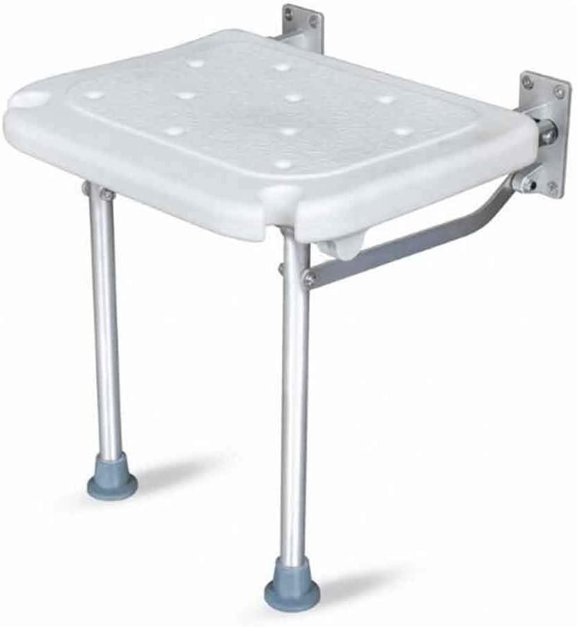 QZ 壁掛け式ドロップリーフスツール 折りたたみシャワーシート 脚付き滑り止めバスベンチ 白い防水シート (Size : 38x40x42cm)
