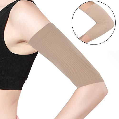 Beauty Women Weight Loss Calories Slimming Arm Shaper Massager Lose Buster Wrap Belt Slimming Compression Arm Shaper Helps Tone Shape Upper Arms Sleeve (Beige, 1 Pair)