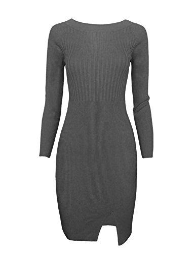 TAM WARE Women Stylish Slim Fit Knit Sweater Boat Neck Bodycon Dress TWCWD078-GRAY-US S