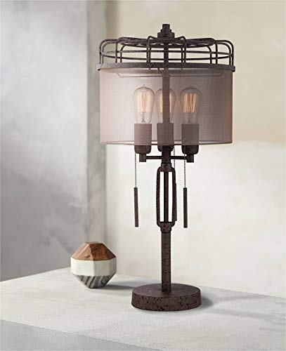 l Table Lamp Rustic Bronze Metal Cage Sheer Drum Shade Vintage Edison Bulbs for Living Room Bedroom - Franklin Iron Works ()