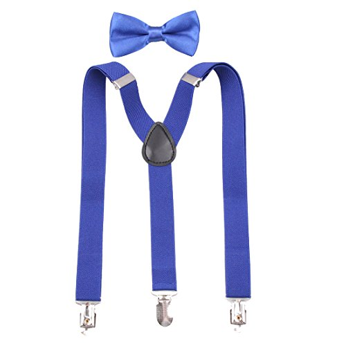 GUCHOL Kids Suspenders Blue Bowtie Set Strengthen Clip Adjustable Length for Boys Girls (Blue)