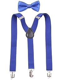 GUCHOL Kids Suspenders Blue Bowtie Set Strengthen Clip Adjustable Length for Boys Girls (Royal Blue)