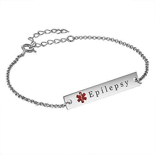 Sterling Silver Personalized Medical Alert ID Bracelets for Women Men White Gold Plated Free Engraved Emergency Oval Charm (A-Silver)