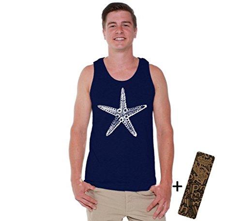 (Awkwardstyles Men's Sea Star Tank Top White Marine Starfish Tank + Bookmark 2XL Navy)