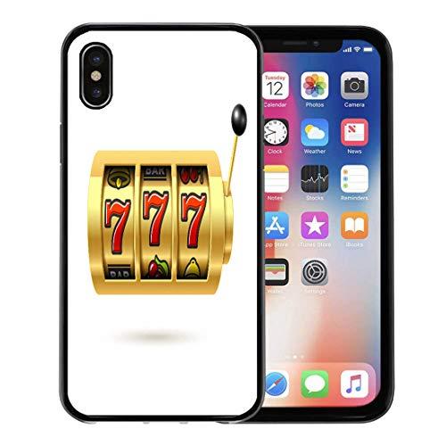 Semtomn Phone Case for Apple iPhone Xs case,Casino Slot Machine Lucky Sevens Jackpot 777 Symbol Bingo Win Spin for iPhone X Case,Rubber Border Protective Case,Black