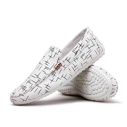 Fashion tela per Scarpe da Penny Summer barca White uomo Scarpe di mocassini Espadrillas uomo Casual da 8pyBHqx