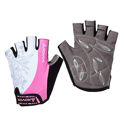 ROVOS Women's Light Non-Slip Shock-Absorbing Half Finger Gel Pad Cycling Gloves Breathable Mountain Biking Riding Gym Sport Gloves (Pink,Medium)