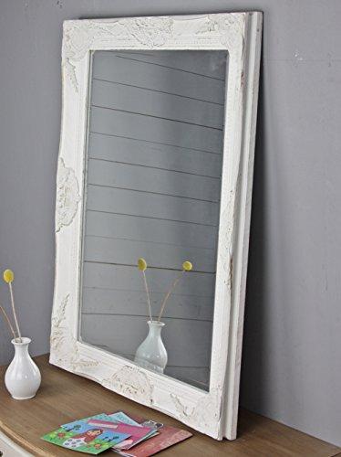 Wandspiegel in weiß antik mit Patina 82 x 62cm | Spiegel schlicht barock aus Holz mit Facettenschliff | im Landhausstil als Badspiegel | Schminkspiegel bzw. Frisierspiegel für das Landhaus