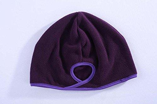 Women's Ponytail Hat by Blissful Being | Winter Running Beanie for Girls | Fashion Accessories for Outdoor Sports, Workout, Marathon Runners | Warm, Moisture Wicking Fleece | In Dark Purple