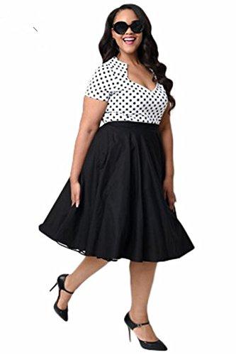 Swing lunares Vintage Rockabilly Negro tamaño y Classic Pinup amp; de Q mujer de vestido la 50s Plus R6zcSqB