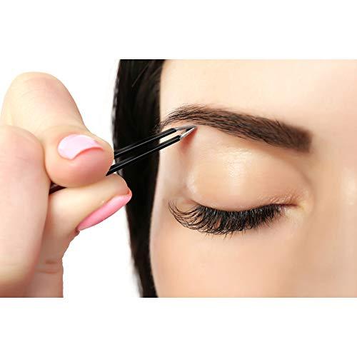 Slant Tweezers, Precision Stainless Steel Slant Tip Tweezers, 3 Pcs Eyebrow Tweezers by HAWATOUR