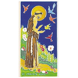 Amalfi Hand Painted Decorative St. Francis Tile - Handmade in