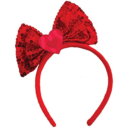 Amscan Valentine's Day Bow Headband Party Head Wear Accessory Favor (1 Piece), Red, 7
