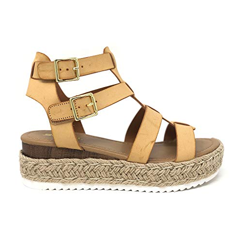 Womens Casual Espadrilles Trim Rubber Sole Flatform Studded Wedge Buckle Ankle Strap Open Toe Sandals (8 M US, Nude PU)