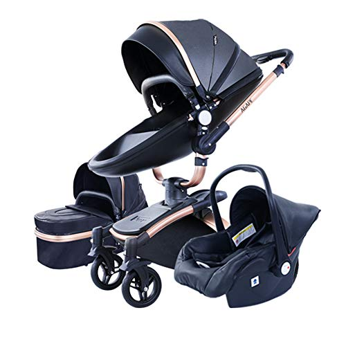 Agape Infant Newborn Baby Stroller with Seat Combo 3 in 1 PU Leather Carriage Baby Bassinet Toddler Pram (Black)