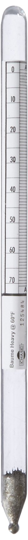 Chase Instruments BH14 Baume Precision Hydrometer, 0 to 70 Range, 0.10mm Interval, 300mm Length